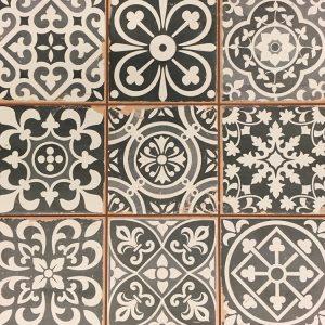 33x33 vloertegels Portugese tegel zwart mix