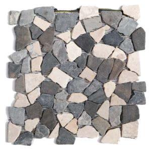 Steen Mozaïek Brick Zwart Wit