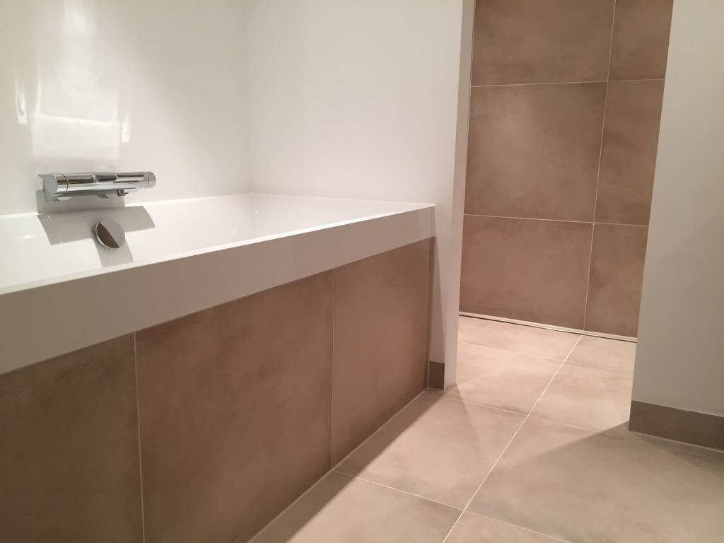 Beige betonlook tegels voor badkamer in amsterdam oost u2013 tegels