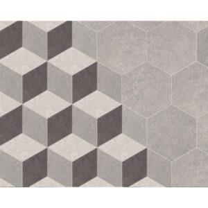 Hexagon 25x22x1 Grijs Zwart Beige Mat Traffic 3D Cube