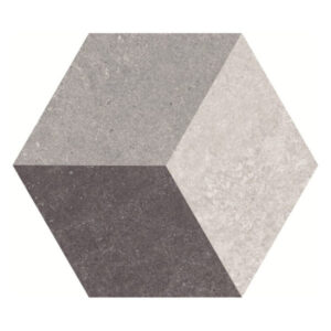 Hexagon 25x22x1 Grijs Zwart Beige Mat Traffic 3D Cube