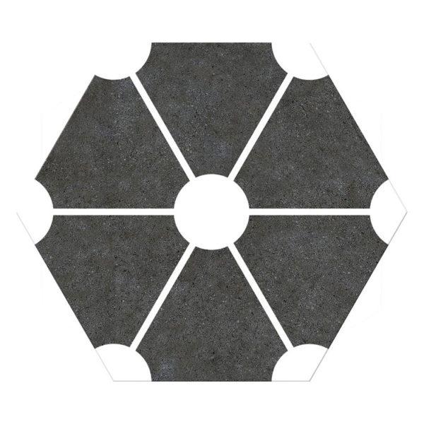 Hexagon 25x22x1 Zwart Wit Atom Black