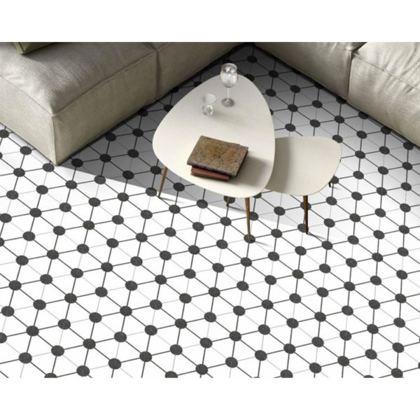 Hexagon 25x22x1 Zwart Wit Atom White