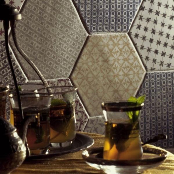 Portugese Tegel 15x15 Wit Groen Marrakech