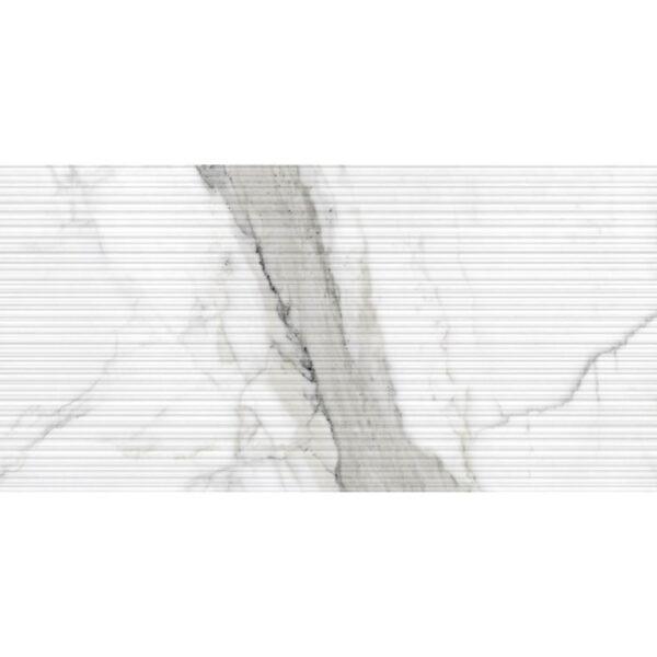 Marmerlook Tegel 120x40 Decor Wit Gestreept Statuario Relieve