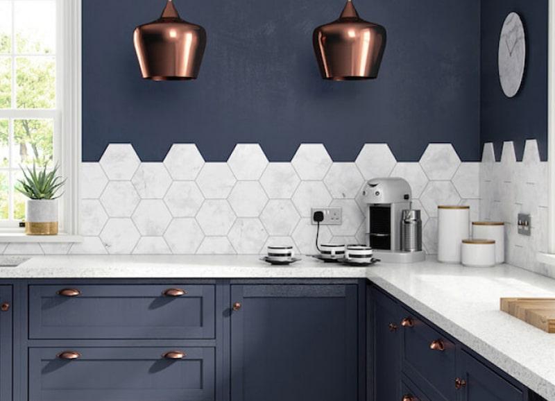 Tegels Voor Keuken.Zeshoekige Hexagon Tegels In De Keuken Tegels Laminaat