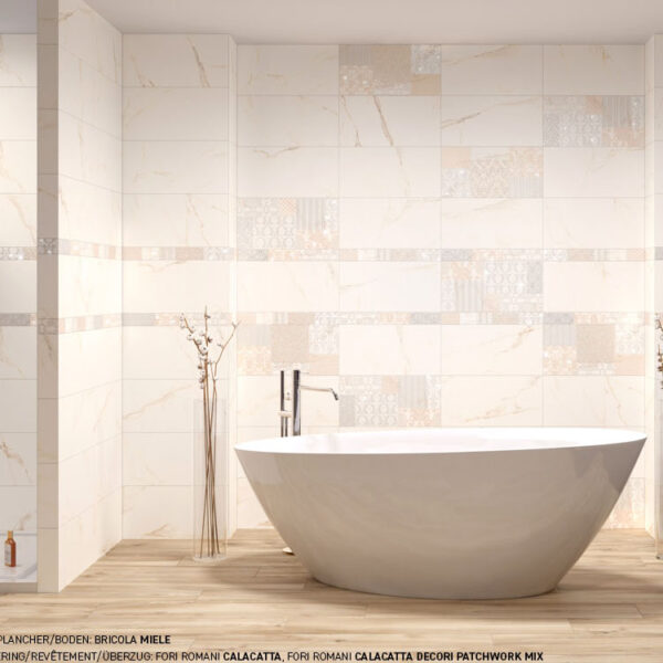 Marmerlook tegel 120x120 Wit Statuario Oro