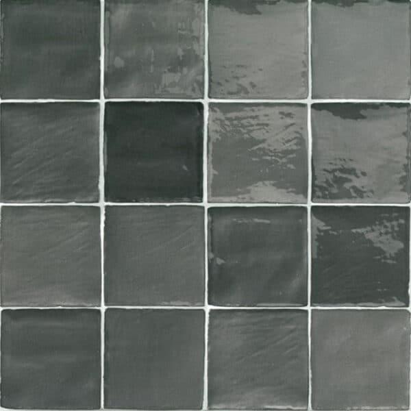 Handvorm Tegels 10x10 - Marokkaanse Zellige Natucer Stow Mix Donkergrijs