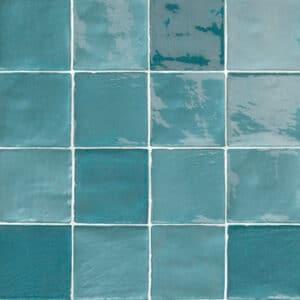 Handvorm Tegels 10x10 - Marokkaanse Zellige Natucer Stow Mix Turquoise Blauw