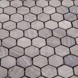 Hexagon Mozaïek 28x30 - Natuursteen Zeshoek Grijs 1