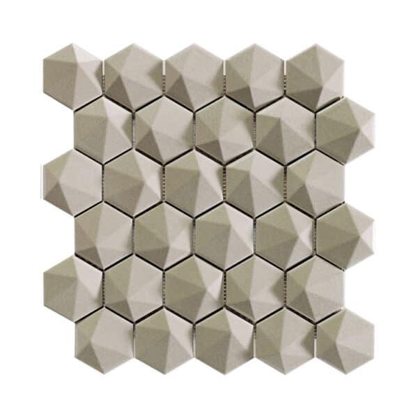 Hexagon Mozaïek 34,32,6 - Natucer 3D Zeshoek Beige