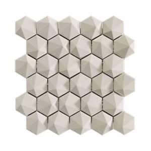Hexagon Mozaïek 34,32,6 - Natucer 3D Zeshoek Gebroken Wit
