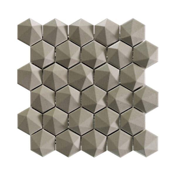 Hexagon Mozaïek 34,32,6 - Natucer 3D Zeshoek Taupe