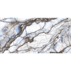 Marmerlook Vloertegel Wandtegel 120x60 Wit Blauw Hoogglans Safari Blue