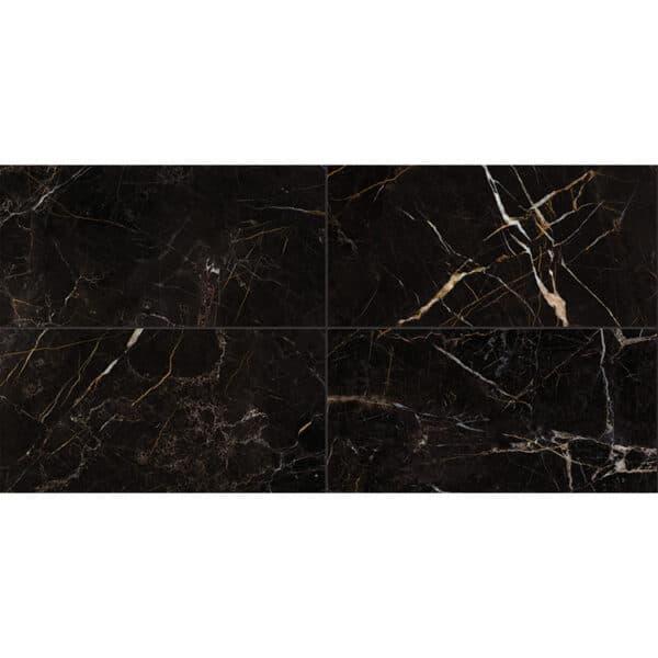 Marmerlook Tegels 60x120 ELLU Port Laurent Zwart Wit Hoogglans