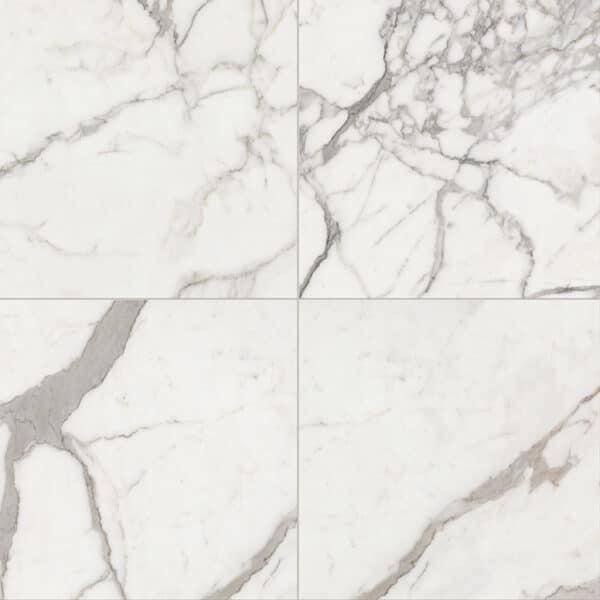 Marmerlook Tegels 60x60 ELLU Calacatta Gebroken Wit Grijs Hoogglans