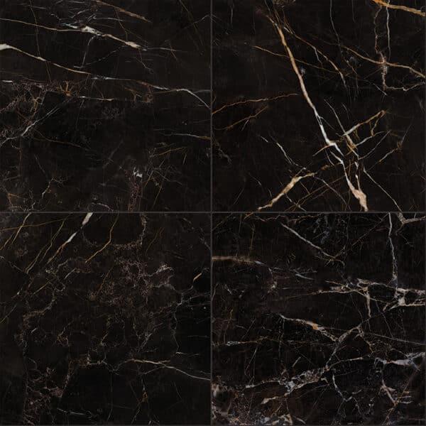 Marmerlook Tegels 60x60 ELLU Port Laurent Zwart Wit Hoogglans
