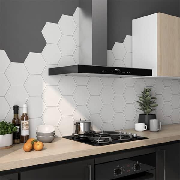 Hexagon Tegel 19,8x22,8 - Priss Matt Wit Mat Sfeer