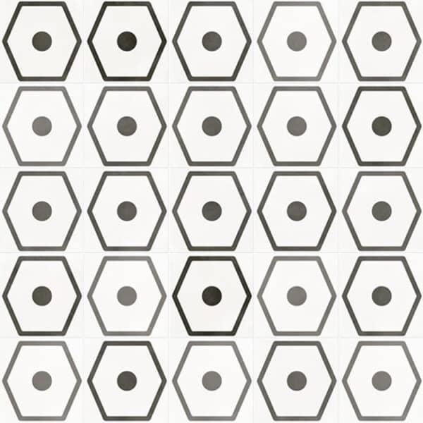Portugese Tegels 29,3x29,3 - Pop Tile Janis Nacar Wit Zwart Patroon