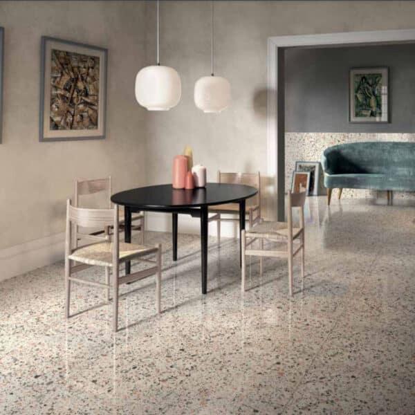 Terrazzo Look Tegel Wit Roze 120x60 Ven Pink SF2