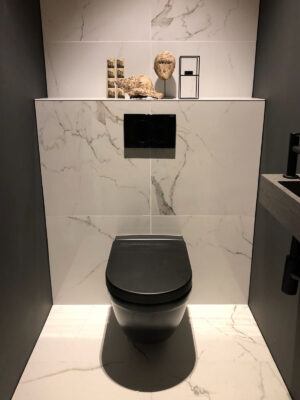 Marmerlook Tegels Toilet Wit Zwart Antraciet