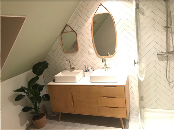 Badkamer Met Visgraat Handvorm Wandtegels Resultaatfoto S
