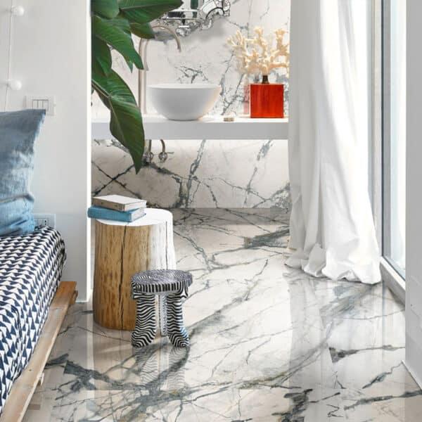 Marmerlook Tegel Slabs 260x120 - TR-INV Marble Wit Hoogglans Sfeer