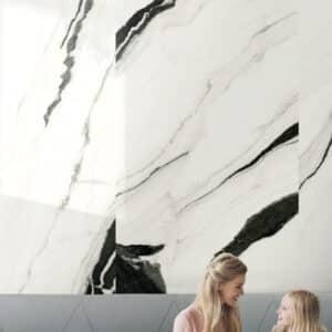 Marmerlook Tegel Slabs 260x120 - TR-PAN Marble Wit Zwart Hoogglans Sfeer
