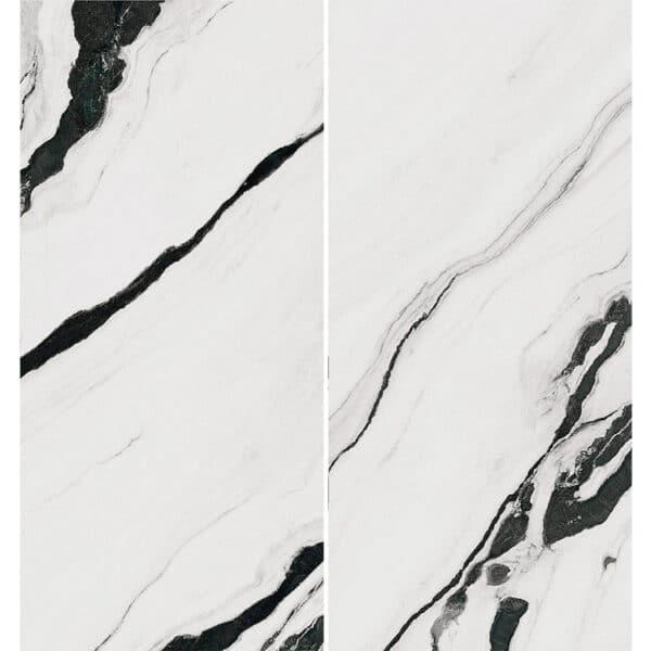 Marmerlook Tegel Slabs 260x120 - TR-PAN Marble Wit Zwart Hoogglans Variatie