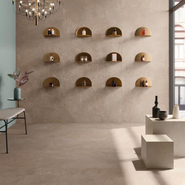 Natuursteenlook Tegel Slabs 278x120 - BRY Kalksteen Gold Beige Sfeer