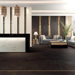 Versace Ceramics - Eterno Brown Donkerbruin 26,5x180 Houtlook Versace Tegels Sfeer