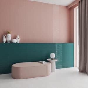 Handvorm Tegels 7,5x30 - Grace Blush Roze Hoogglans Sfeer