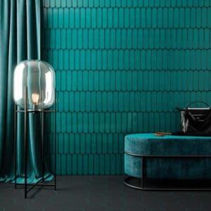 Handvorm Tegels 7,5x30 - Ovaal Grace Teal Groenblauw Hoogglans Sfeer