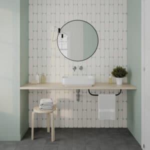 Handvorm Tegels 7,5x30 - Ovaal Grace White Gebroken Wit Hoogglans Sfeer