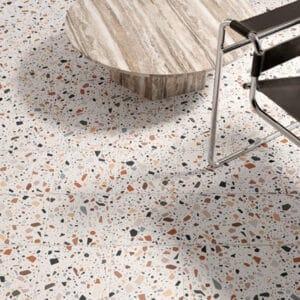 Terrazzo Tegels 18,6x18,6 - Confetti Wit Multi Sfeer